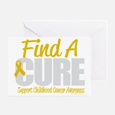 Childhood-Cancer-Find-A-Cure-blk Greeting Card