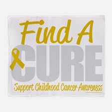 Childhood-Cancer-Find-A-Cure-blk Throw Blanket