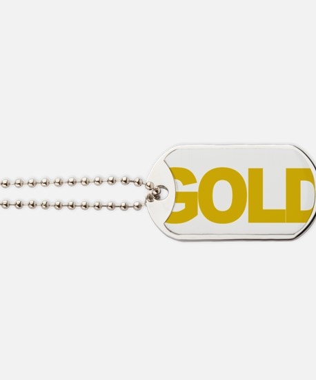 Childhood-Cancr-Think-GOLD-blk Dog Tags