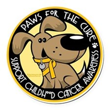 Paws-for-the-Cure-Childhood-Cance Round Car Magnet