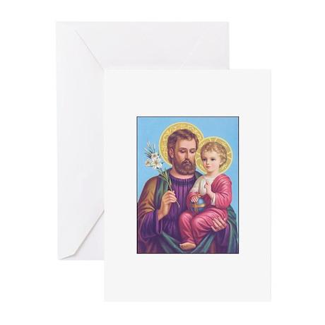 St. Joseph with Jesus Greeting Cards (Pk of 10
