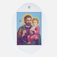 St. Joseph with Jesus Oval Ornament