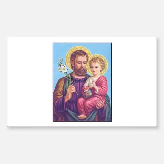 St. Joseph with Jesus Rectangle Decal