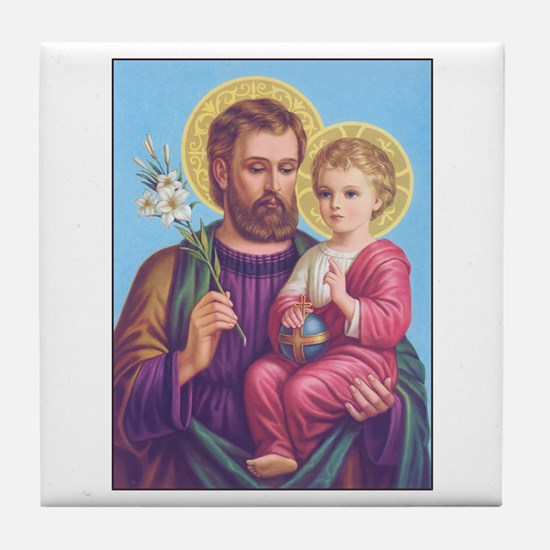 St. Joseph with Jesus Tile Coaster