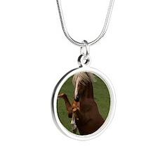 ConTodo LgWallClock Silver Round Necklace