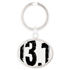 13.1_blacksticker Oval Keychain