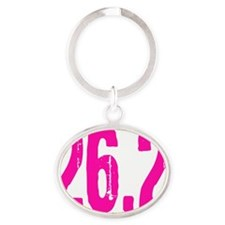 26.2_pink_sticker Oval Keychain
