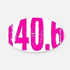 140.6_pink Oval Car Magnet