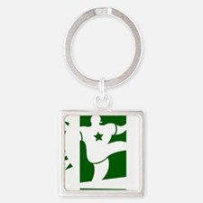 j0292626grnwht Square Keychain