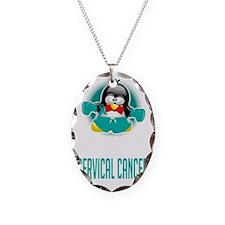 Cervical-Cancer-Boxing-Penguin Necklace Oval Charm
