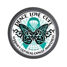 Cervical-Cancer-Butterfly-Tribal-2 Wall Clock