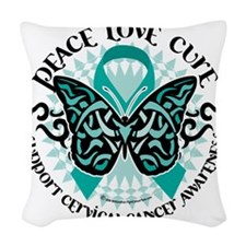 Cervical-Cancer-Butterfly-Trib Woven Throw Pillow