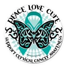 Cervical-Cancer-Butterfly-Tribal- Round Car Magnet
