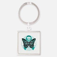 Cervical-Cancer-Butterfly-Tribal-2 Square Keychain