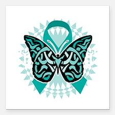"""Cervical-Cancer-Butterfl Square Car Magnet 3"""" x 3"""""""