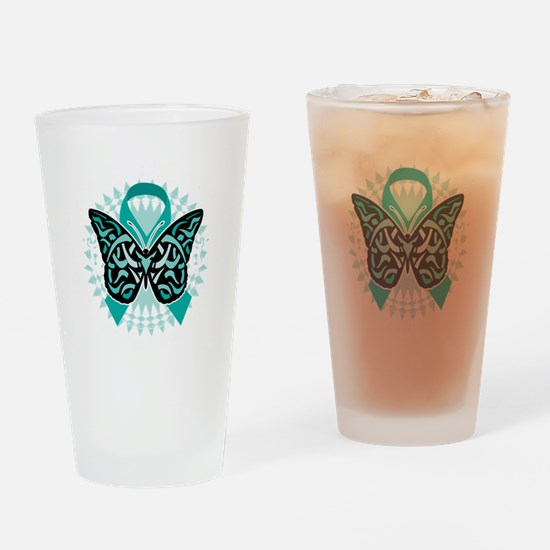 Cervical-Cancer-Butterfly-Tribal-2- Drinking Glass
