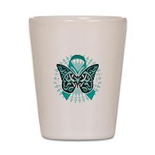 Cervical-Cancer-Butterfly-Tribal-2-blk Shot Glass