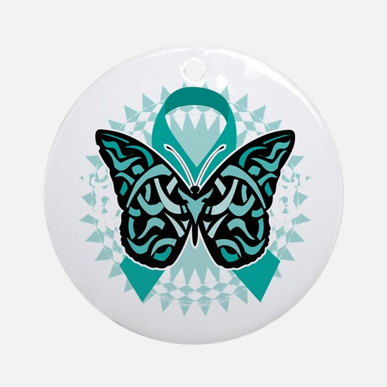 Cervical-Cancer-Butterfly-Tribal-2- Round Ornament