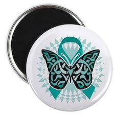 Cervical-Cancer-Butterfly-Tribal-2-blk Magnet
