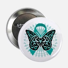 """Cervical-Cancer-Butterfly-Tribal-2-bl 2.25"""" Button"""