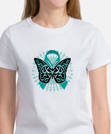 Cervical-Cancer-Butterfly-Tribal-2 Women's T-Shirt