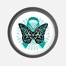 Cervical-Cancer-Butterfly-Tribal-2-blk Wall Clock