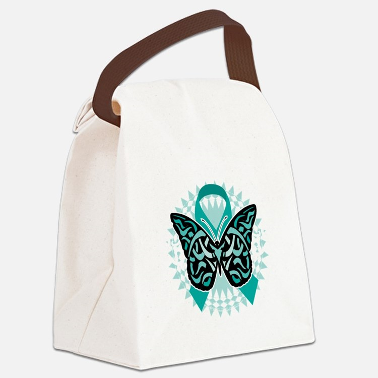 Cervical-Cancer-Butterfly-Tribal- Canvas Lunch Bag