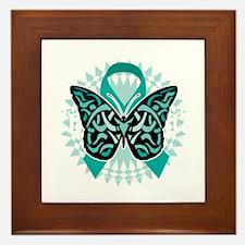 Cervical-Cancer-Butterfly-Tribal-2-blk Framed Tile