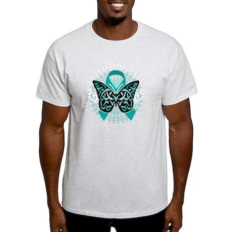 Cervical-Cancer-Butterfly-Tribal-2-b Light T-Shirt