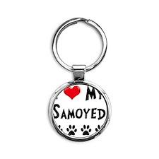 I-Love-My-Samoyed Round Keychain