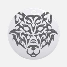 wolf-tribal-gray Round Ornament