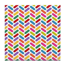 Candy Herringbone Pattern Tile Coaster