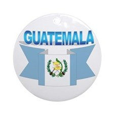 The Guatemala flag ribbon Ornament (Round)