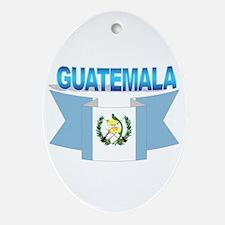 The Guatemala flag ribbon Oval Ornament