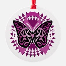 Crohns-Disease-Butterfly-Tribal-blk Ornament