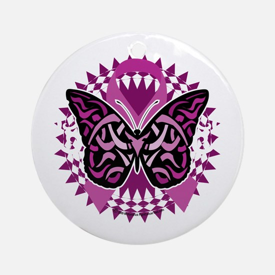 Crohns-Disease-Butterfly-Tribal-blk Round Ornament