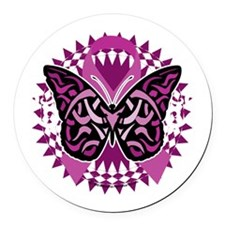 Crohns-Disease-Butterfly-Tribal-b Round Car Magnet
