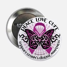 """Crohns-Disease-Butterfly-Tribal 2.25"""" Button"""