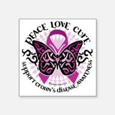 "Crohns-Disease-Butterfly-Tr Square Sticker 3"" x 3"""