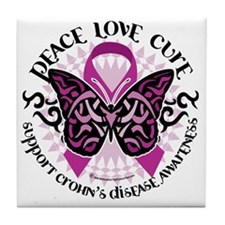 Crohns-Disease-Butterfly-Tribal Tile Coaster