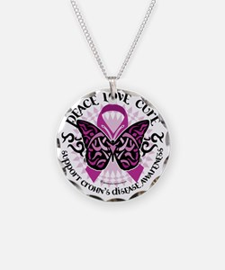 Crohns-Disease-Butterfly-Tri Necklace