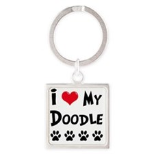 I-Love-My-Doodle Square Keychain