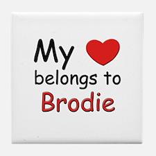 My heart belongs to brodie Tile Coaster