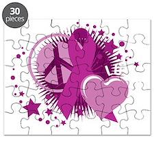 Crohns-Peace-Love-Cure-blk Puzzle