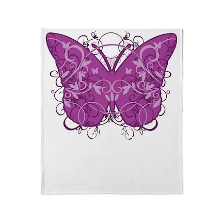 Crohns-Disease-Butterfly-blk Throw Blanket
