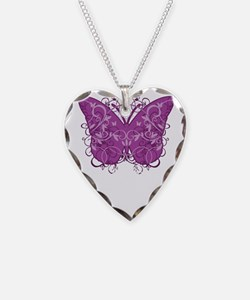 Crohns-Disease-Butterfly-blk Necklace