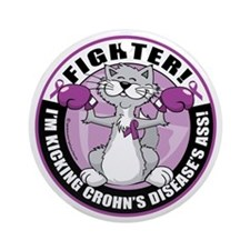 Crohns-Disease-Cat-Fighter Round Ornament
