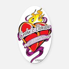 Crohns-Disease-Tattoo-Heart Oval Car Magnet