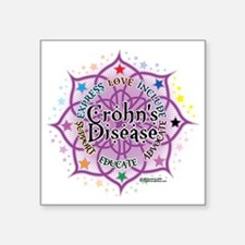"Crohns-Disease-Lotus Square Sticker 3"" x 3"""