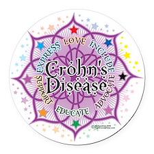 Crohns-Disease-Lotus Round Car Magnet